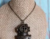 Diving Helmet Necklace - Nautical Pendant Necklace - Bronze Necklace - Long Necklace - Nautical Jewelry - Diving Helmet Jewelry - Sea Life