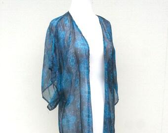 Blue Black Flower Print Kimono Cardigan
