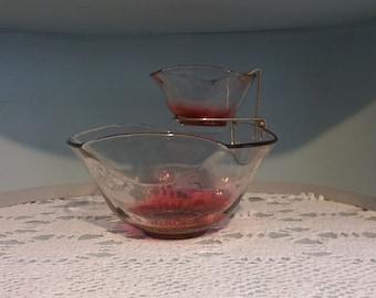 Vintage, Cranberry Ombre, Chip & Dip Bowl Set,