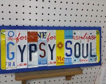 License Plate Sign License Plate letter Art Picture Home Gypsy Soul License Plate Letter Sign