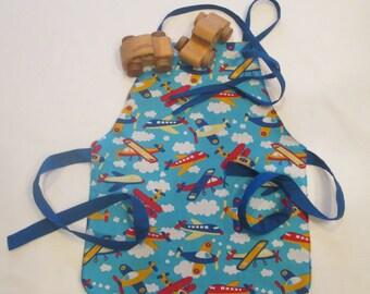 Toddler Boy's Apron | Airplanes Apron | Ages 2-6 Apron | School or Art Apron | Reversible Handmade Apron |