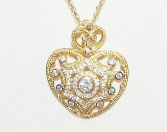 Joan Rivers Heart Necklace -  Crystal Heart Enhancer Pendant in Gold Tone - S1319