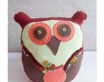 Owl Little Decorative Pillow, Owl Stuffed Toy, Animal Stuffed Toy, Cute Owl Hand sewn, Kids Pillow gift, Plush Owl, Children Kids Room decor