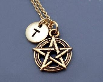 Pentagram necklace, pentangle, star pentagon, gold pentagram pentangle star pentagon, initial necklace, personalized, monogram
