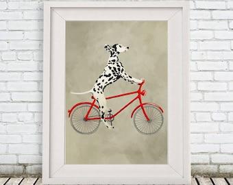 Woodland Dalmatian Print, Boxer Illustration Art Poster Acrylic Painting Kids Decor, black and white, dog Gift,Dog on bicycle, bicycle print