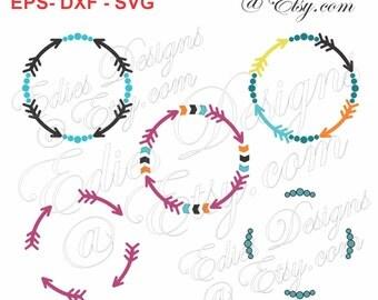 SVG Circle Arrow Frames Circle Frames EPS DXF Cutting File Digital Download