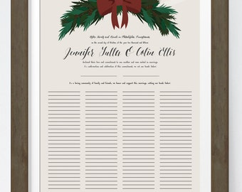 Quaker Marriage Certificate Guest Book for Christmas Wedding with Pine wreath, Unique wedding certificate for Rustic Winter Wedding