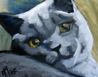 Original Oil painting fine art cat pet feline portrait grey silver canvas board