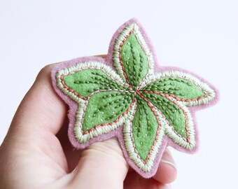 Leaf Brooch, Hand Embroidered, 100% Wool Felt, Original 1/1.