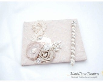 Wedding Lace Guest Book Pen Set Custom Bridal Flower Brooch Guest Books in Champagne, Tan and Ivory