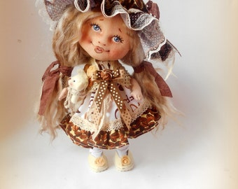 Cloth Doll,COFFEE, Doll,Textil Doll, 22 sm,art doll,handmade,collectible art doll