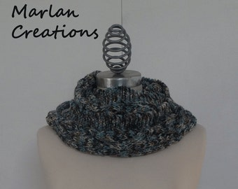 Grey, light blue, rusty brown and kaki cowl scarf with diamond pattern