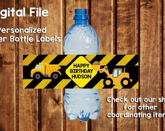 Construction Water Bottle Labels- Construction- Construction Party Pack- Construction Labels