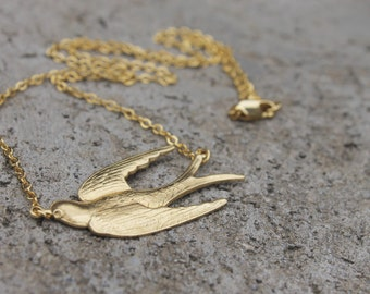 Swallow Necklace // Bird Necklace // Gold Necklace // Flying Necklace // 16K Gold Necklace
