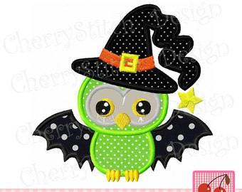 Halloween witch owl Machine Embroidery Applique Design HL0012 - 4x4 5x5 6x6""