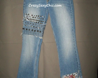 Hipster Jeans Patched & Studded Jeans Women's size 7