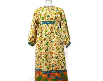Vintage Bohemian Cream Yellow x Floral Cotton tunic Dress from 1970's/Hippies boho*