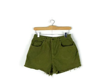 Free shipping Vintage Khaki/Olive Green Denim cut off Shorts from 1980's/W26*