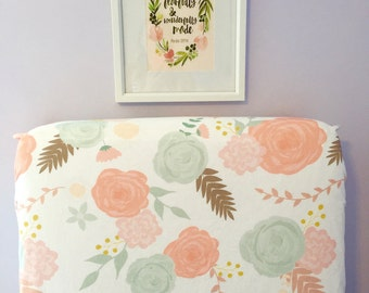 Fitted crib sheet - summer blooms - blush peach coral mint aqua green - flowers floral sprigs retro vintage girl nursery - baby shower gift