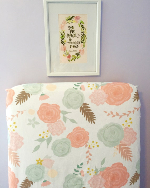 Fitted Crib Sheet Summer Blooms Blush Peach Coral Mint