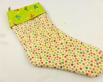 Luxury Personalized handmade lined trimmed festive Christmas stocking, made in UK, bright starry traditional stocking ideal gift present