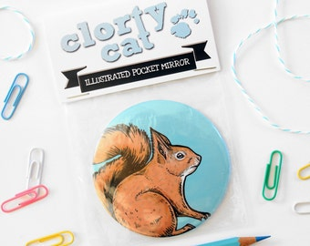 Red squirrel pocket mirror / large / 76mm