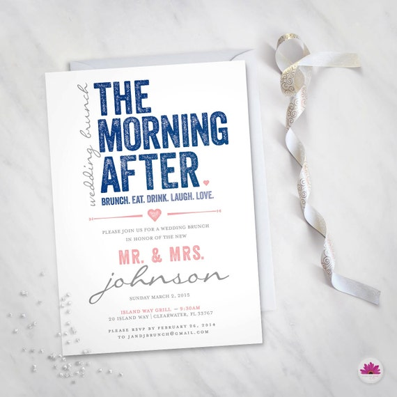 the morning after wedding brunch invitation digital file