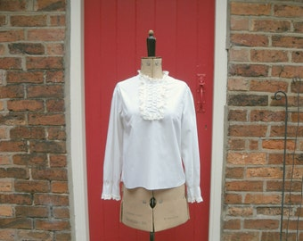 1960s bib blouse / 60s ruffle blouse / womens white tuxedo blouse with pintucks and lace ruffles