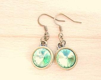 Peridot Rivoli Earrings - Swarovski Crystal Earrings - Bronze Dangle Earrings - Rivoli Jewelry - August Birthstone
