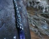 Dark Amethyst  Quartz Crystal Cone Wand Necklace