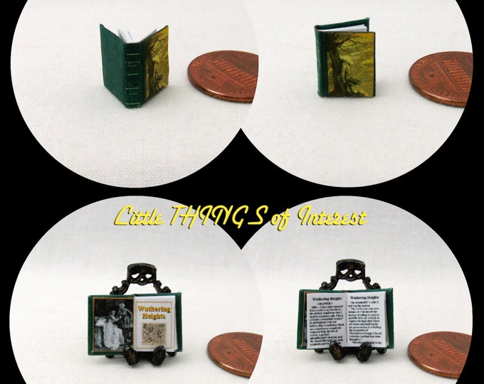 1/24 Scale WUTHERING HEIGHTS Miniature Book Dollhouse Book Half Scale or 1/2 Scale Book 1845 Emily Brontë Heathcliff Classic Literature