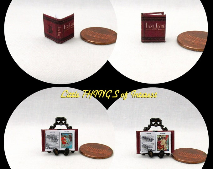 1/24 Scale Book JANE Eyre Miniature Book Dollhouse Illustrated Book Half Inch Scale