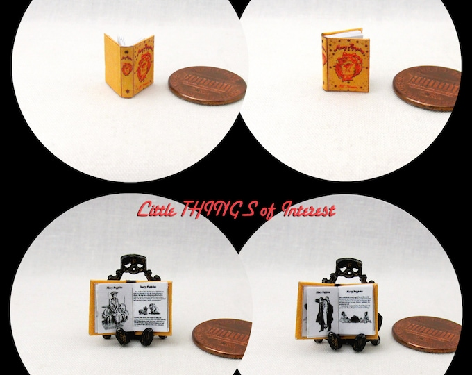1/24 Scale Book MARY POPPINS Miniature Book Dollhouse Illustrated Book Half Inch Scale