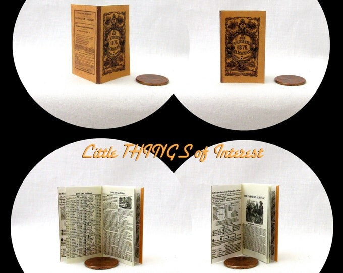 THE FARMERS ALMANAC 1:6 Scale Book Readable Illustrated Miniature Book
