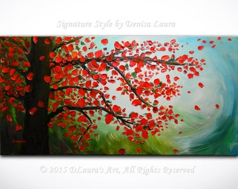 Contemporary ORIGINAL Abstract Fantasy Red Leaves Tree Fall Landscape Fine Art Oil Palette Knife Painting on 40x20 Canvas by Denisa Laura