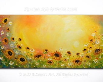 Sunflower Daisy Landscape Contemporary ORIGINAL Modern Sunrise Fine Art Bright Oil Palette Knife Painting on 40x20 by Denisa Made2Order