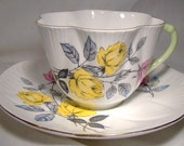 SHELLEY X2426 Tea Cup and Saucer Fluted Teacup with Roses
