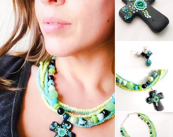 Southwestern Jewelry, Chunky Cross Necklace, Cowgirl Jewelry, Gifts for Her, Turquoise and Lime Green, Religious Gifts