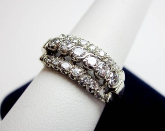 Engagement Ring, Wedding Band, 65pts. Genuine Diamonds & 14K White Gold, Art Deco 1930s USA.