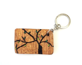 Spring Tree Reclaimed Wood Key Chain