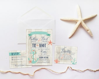 Beach Wedding Invitation Set DEPOSIT Nautical Boho Anchor Rustic Invite Kit