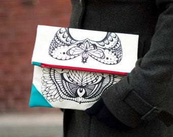 Screen Printed Clutch Bag / Cotton Canvas and Vegan Leather Clutch Purse