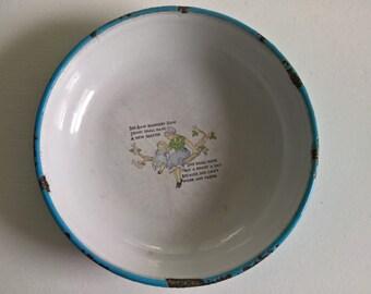 Vintage Swedish Children's Nursery Rhyme Enamel Bowl --- See Saw Margery Daw Traditional English Poem --- Antique Kids' Kitchen Home Decor