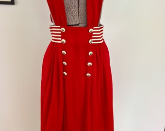 Vintage 1950's 1960's Bright Red Suspender Skirt --- Quirky Colorful Unique Playful Fun Retro Fashion --- Mid-Century Lolita Cosplay Costume