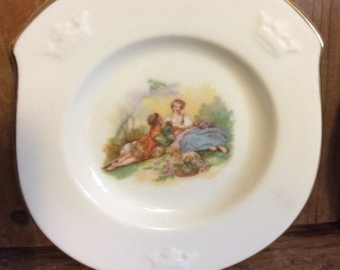 Vintage pair of ALP Lidkoping miniature decorative plates, romantic scene, circa 1920's
