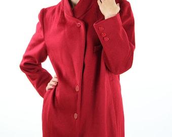 Red winter coat, wool coat, vintage winter jacket, size M, 38, size 10