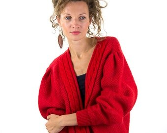 Red cardigan, Knit vintage jacket, women cardigan, M, 38, 10