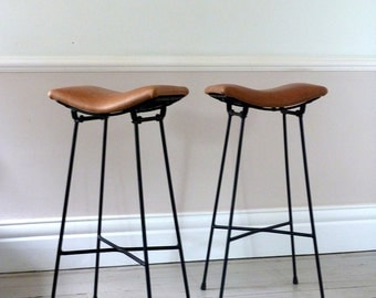 Pair of Vintage 1960s Cafe Saddle Stools
