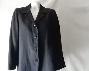 Sz 10 Linen Harve Benard Blazer Jacket - Black - Career Professional - Wear to Work Business Office