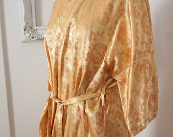 Shimmery Gold Vintage Silk Chinese Robe